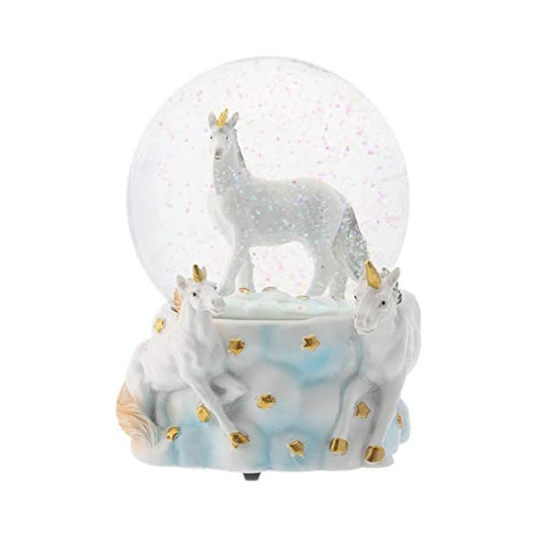 Elanze Designs White Unicorn Friends 100MM Musical Water Globe Plays Tune You are My Sunshine 3