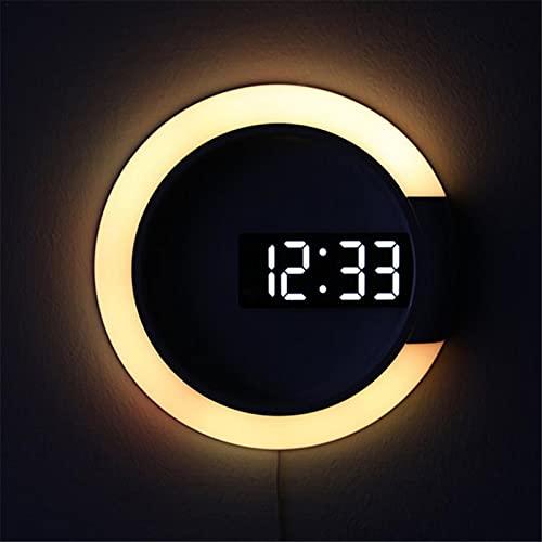 Reloj De Pared LED Espejo, Reloj Despertador Luz Con Pantalla De Temperatura Decorat En Forma De Anillo, LED Espejo Hueco Reloj De Pared Multifuncional, Reloj Hogar Termómetro Creativo Alarma Digital