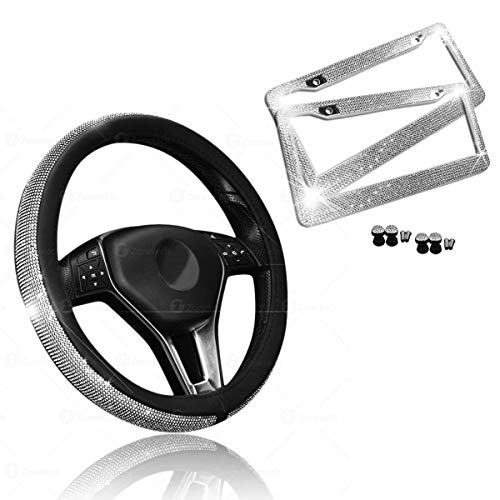 Car Crystal Bling Wheel Cover with License Plate Frame Set- Zone Tech Shiny Steering Wheels- Bling Shiny Diamond Wheel Protector with License Plate Frame and Mounting Screws