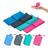 Small Swear Towel, Microfiber Travel Towel, Quick Dry Sport Towel, Pack 4 Cooling Towel for Gym, HIIT, Yoga, Cycling, Hiking, Running, 15.7'x15.7', MUTAO