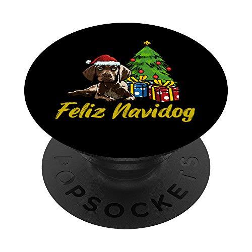 Feliz Navidog Puntero Alemán De Pelo Corto Perros Navidad PopSockets PopGrip: Agarre intercambiable para Teléfonos y Tabletas
