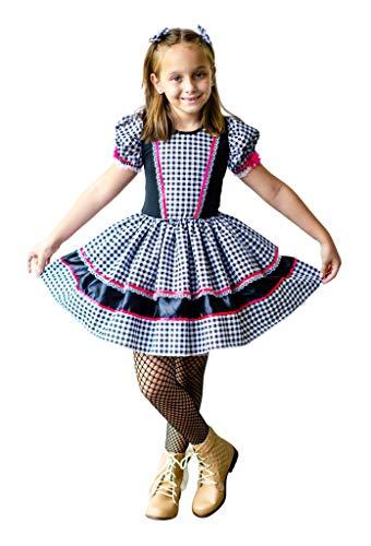 Vestido Festa Junina Caipira Infantil Luxo (G-10 a 12 Anos)