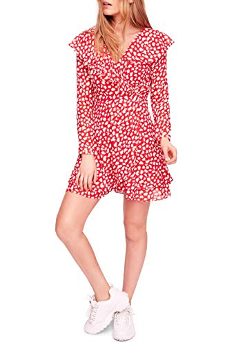 Free People Womens Frenchie Casual V-Neck Wrap Dress (Red, X-Small)