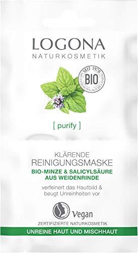 Bio Klärende Reinigungsmaske von LOGONA Naturkosmetik für unreine Haut & Mischhaut mit Bio-Minze & natürlicher Salicylsäure aus der Weidenrinde, Mattierend und Pflegend, Natürlich & Vegan, 15 ml