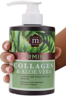 Mirth Beauty Collagen Cream Cream for Face and Body. Collagen Firming Cream with Aloe Vera and Green Tea Extract. Large 15oz jar with pump. (15oz)
