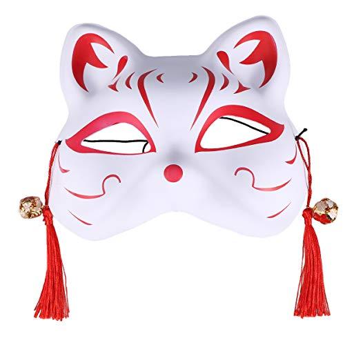 Amosfun Kabuki Kitsune Maske Kunststoff Katze Anime Maske mit quaste Blume Perle Janpanese Stil Tier Maske Cosplay zubehör Maskerade kostüm Requisiten für mädchen (rot)