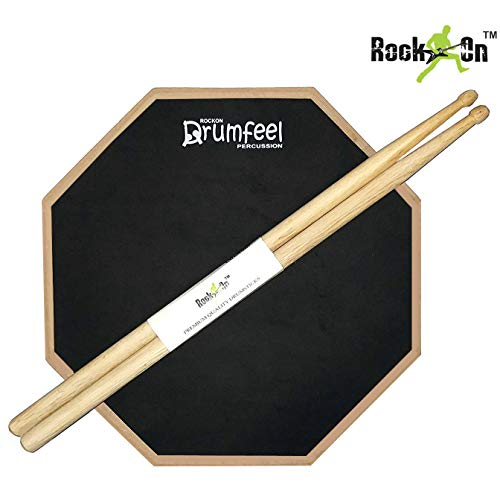 Rockon Drumfeel 12' Inches Dual Side Practice Pad + Bag + Drumsticks