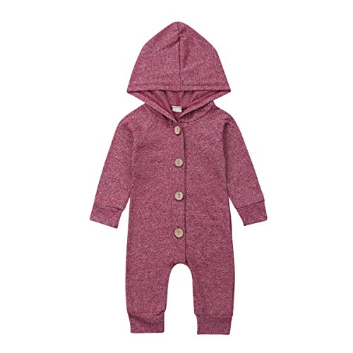Seyurigaoka Unisex Baby Striped Rompers, Infant Baby Boy Girl Sleeveless Button One-Piece Solid Color Jumpsuit Summer Outfits (Purple Red Hooded Romper, 6-12 Months)