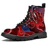 Rosso polpo cerchio scarpe impermeabili piatto pizzo stivaletti tacco basso lavoro combattimento stivali, (Cerchio rosso polpo), 44 EU