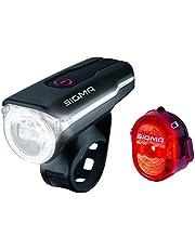 Sigma Sport LED Fahrradbeleuchtung-Set AURA 60 USB/NUGGET II, Frontlicht und Rücklicht, StVZO Zulassung, Akku wiederaufladbar, wasserdicht