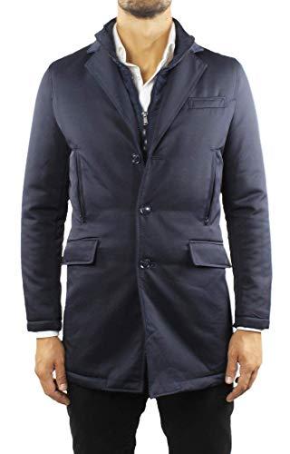 cappotto uomo elegante invernale Ciabalù Giaccone Elegante Uomo Invernale Blu Cappotto in Tessuto Tecnico Impermeabile (50)