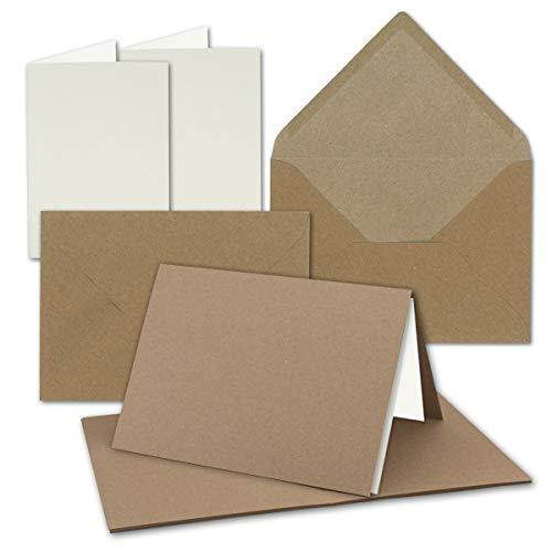 50x Vintage Kraftpapier Falt-Karten SET mit Umschlägen und Einlegern DIN B6-120 x 169 mm - 350 g/m² - blanko I by GUSTAV NEUSER®