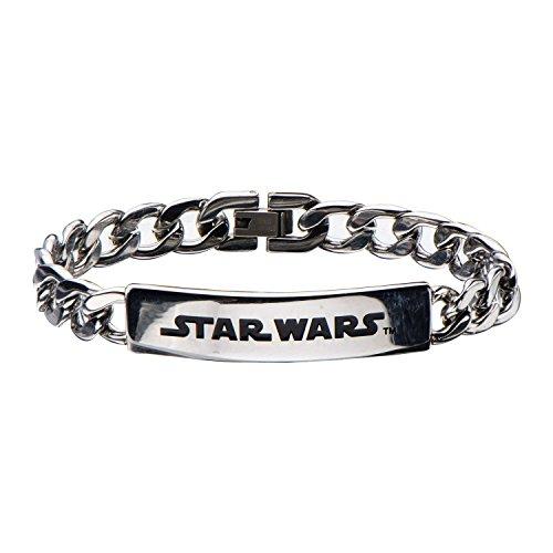 Star Wars Men's Stainless Steel Logo ID Curb Chain Link Bracelet, 3296B