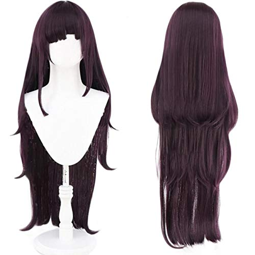 Ebingoo Wig Dark Purple Cosplay For Cosplayers Long Natural Wavy wig With Bangs Synthetic Wig For Movie for Women