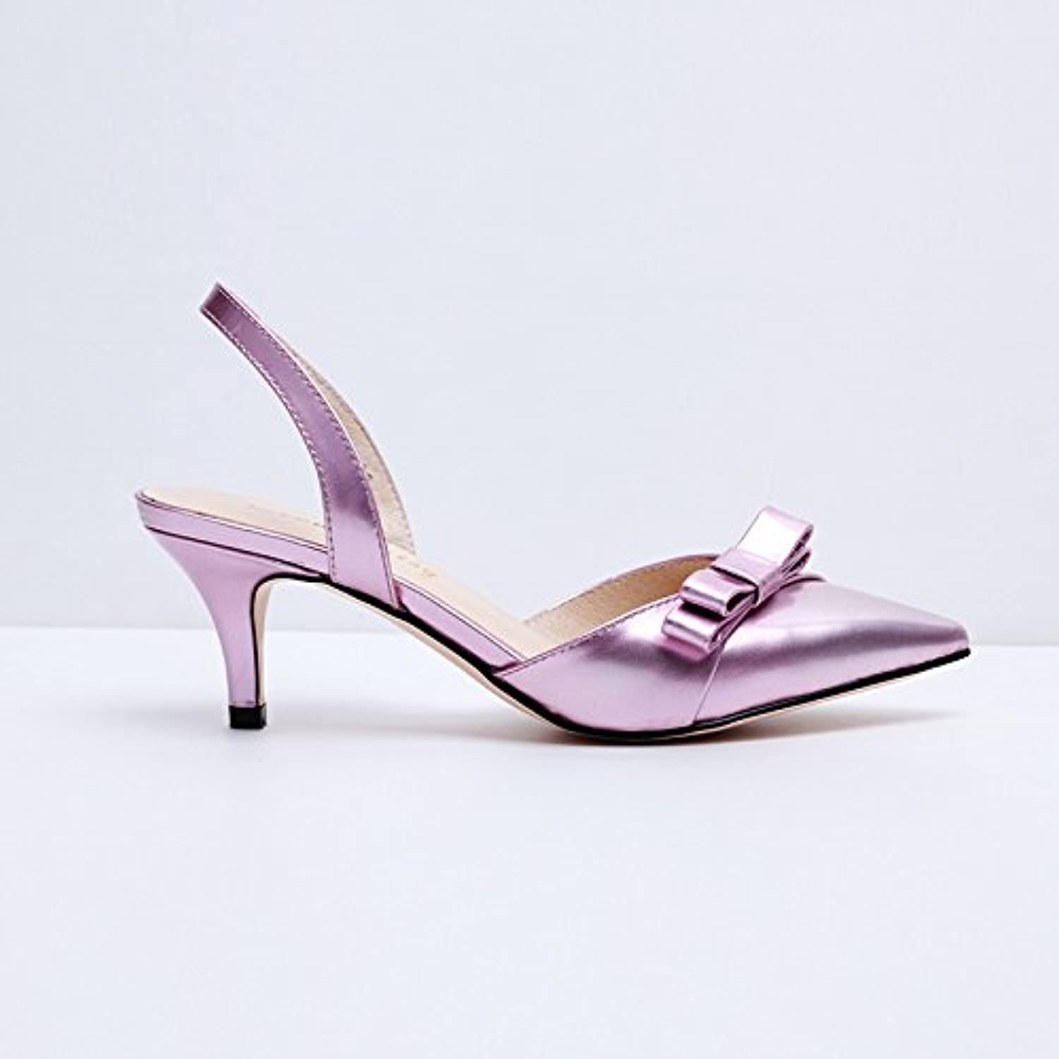 Baotou Hollow Bow high Heel Sandals Fashion Leather shoes, Powder, 37