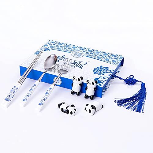 shuokang Panda - Set di bacchette da pranzo in acciaio INOX con manici in ceramica, riutilizzabili, cucchiai chopsticks cinesi in 3 pezzi, stile classico (2 bacchette per panda da da tavolo)
