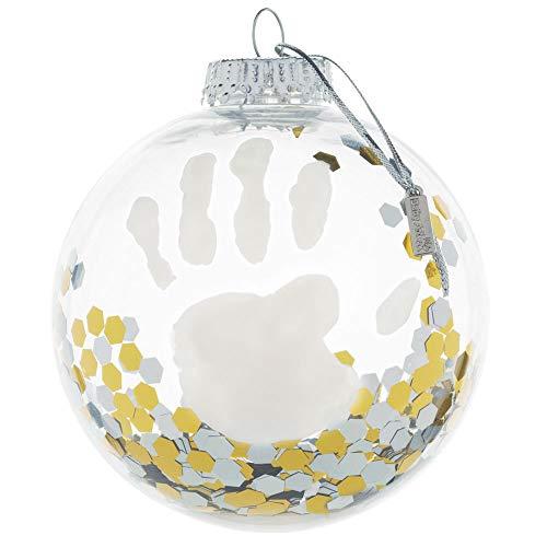 Baby Art My Christmas Fairy Boule de Noël avec kit empreintes de bébé, décoration de Noël personnalisable avec empreinte mains et pieds de bébé, transparente avec paillettes couleur or