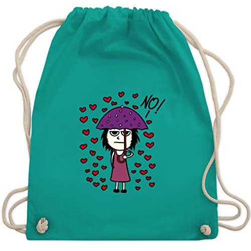 Comic Shirts - Love? No! - Unisize - Türkis - Frau - WM110 - Turnbeutel und Stoffbeutel aus Baumwolle