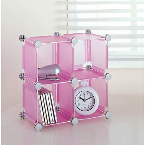 Organize It All Set of 4 Translucent Connecting Storage Cubes – Pink
