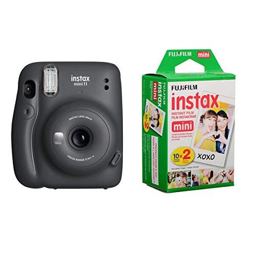 Fujifilm Instax Mini 11 Instant Film Camera, Charcoal Gray - with Slinger Instax Mini 11 Accessory Kit Charcoal Gray, 2X Fuji instax Mini I nstant Daylight Film Twin Pack, 20 Exposures