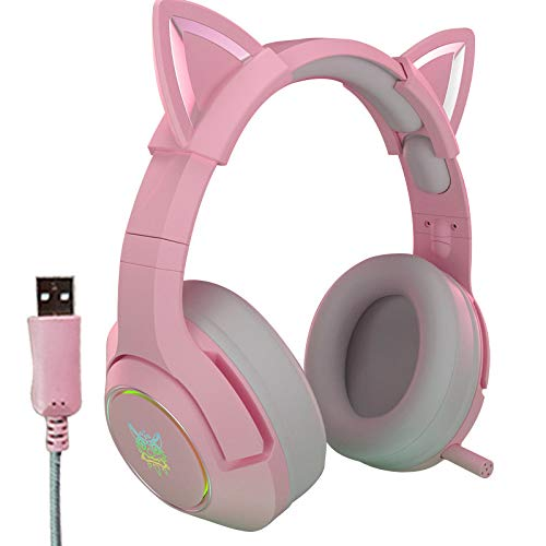 AJEERD New K9 Pink Wired Game Cat Ear Headset with 3.5mm Lightweight Self-Adjusting Over Microphone HiFi 7.1 Channel Gaming Music Pink Headset for Computer Notebook