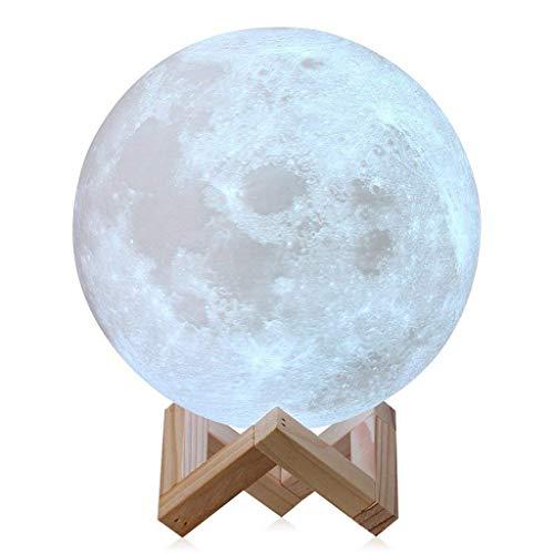 Full Moon Lamp 3D LED Night Moderne Stehlampe dimmbar 16 Farben Touch Control Helligkeit Usb Aufladung Warmweiß mit Ständer 22 cm 15cm