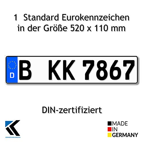 Antmas 1 Euro-Kennzeichen | Kfz Kennzeichen DIN-zertfiziert für Deutschalnd (520x110 mm)