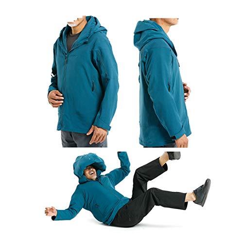 YXYECEIPENO Intelligenter Fallschutzanzug Fallfeste Airbagjacke Für Herren Motorradjacke Mit Airbag Intelligente Anti-Fall-Erkennung Ihrer Körperdaten Ohne CO2-Flasche (Color : Blue, Size : Large)