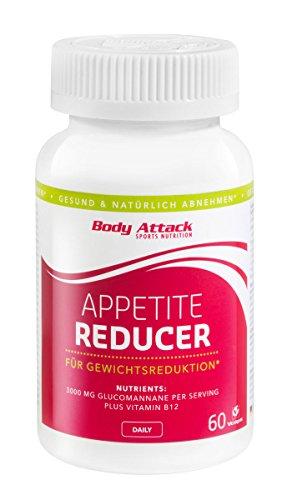 Body Attack Appetite Reducer FEM, Appetitzügler zur Unterstützung beim natürlichen abnehmen & Gewicht reduzieren, speziell für Frauen, 3300 mg Glucomannane/ Portion, Vitamin B12, vegan, 1 x 60 Kapseln