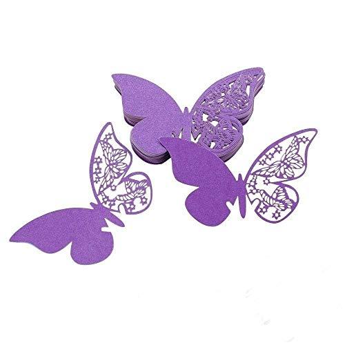 ElecMotive 100 Stück Schmetterling Tischkarten Namenskarten Glasanhänger Wandsticker für Tischdeko Hochzeit Party Haus Deco (Violett)