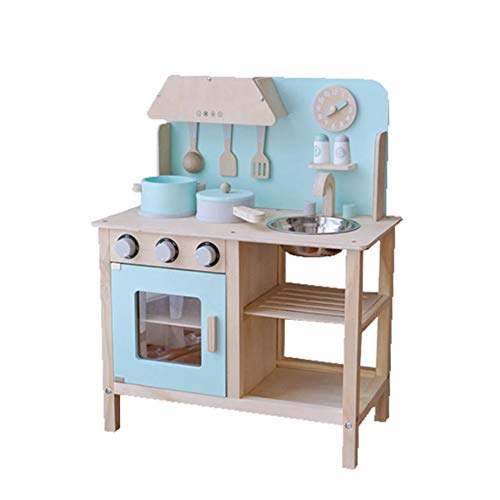 Los niños fingen ser juguetes de cocina, estufas de madera para el entrenamiento de habilidades, pintura a base de agua ecológica que simula juguetes de fregadero, adecuados para niños mayores de 3