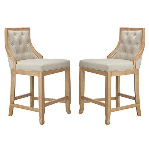 Amazon Brand – Stone & Beam Vintage Armless Barstool, 24'H, Beige, Set of 2