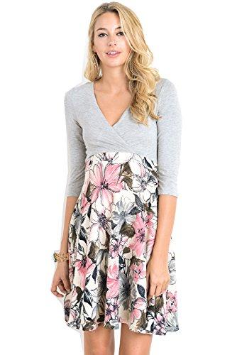 Hello Miz Elbow Sleeve V-Neck Color Block Flower Printed Maternity Nursing Skater Dress (Medium, Grey/Pink)