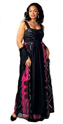M.I.M. Chiffon-Abendkleid, schwarz-pink-Silber Größe: 40