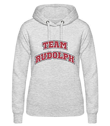 Shirtinator, Team Rudolph, Pullover Hoodie Damen, Geschenkideen Weihnachten Geburtstag, grau, XL