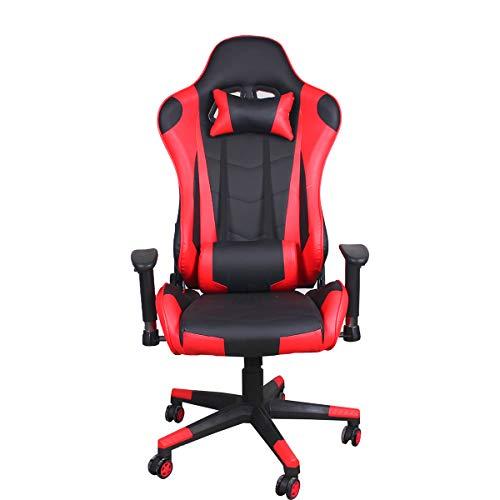 GroBKau - Sillas de juego con reposacabezas y almohada lumbar para adultos y escritorio con ruedas para sala de estar (rojo)