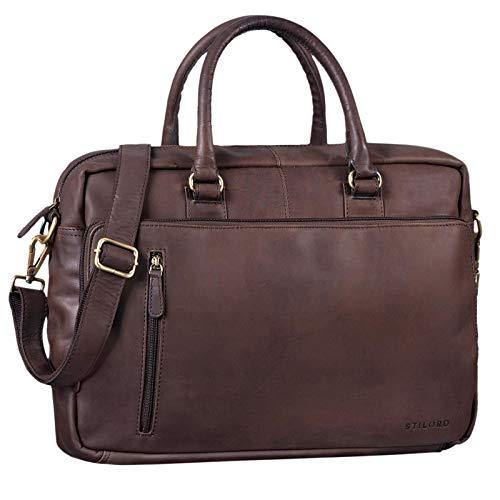 STILORD 'Fabius' Umhängetasche Herren Leder groß Vintage Laptoptasche 15.6 Zoll Aktentasche DIN A4 für Business Büro Arbeit Uni echtes Büffelleder, Farbe:matt - Dunkelbraun