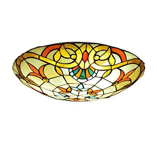 Lámpara de techo, luz de baño Lámparas de techo de techo, lámpara de tifón de tifón de tifón al ras de tifón Lámpara de techo Vintage Flush Monte Lighting con colorido sombra de vidrio, para dormitori