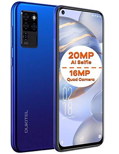 Cellulari Offerte OUKITEL C21, Android 10 Smartphone Dual SIM, Selfie AI 20 MP + Fotocamera Quattro 16 MP, 6,4'' FHD+ Vista Completa, Octa-Core 4GB+64GB, Face ID,Impronta Digitale Type-C GPS Blu