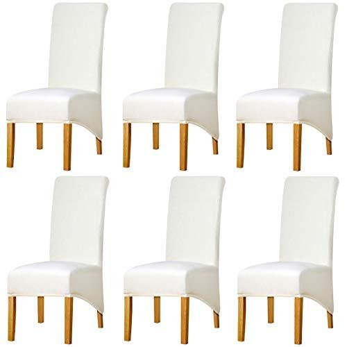 KELUINA Estiramiento sólido con respaldo alto Cubiertas de silla XL para comedor, fundas de silla de comedor grandes de Spandex para la vida en el hogar Restaurante Hotel (6 PACK,Crema)