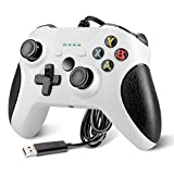YCCTEAM Wired Controller Compatible with Xbox One, USB Gamepad Controller with Dual Vibration, Headset Jack and Trigger Buttons for Xbox One/Xbox One S/Xbox One X/PC Windows 7/8/10(White)
