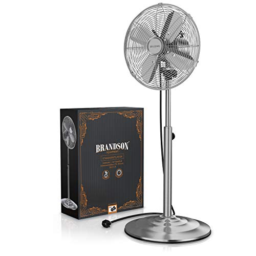 Brandson – Standventilator mit Oszillation 80° im Chrom-Design   30 cm Rotor   hhenverstellbarer Standfuß   3 Geschwindigkeiten   30° neigbar   Ventilator Standlfter   GS-Zertifiziert Bild 3*