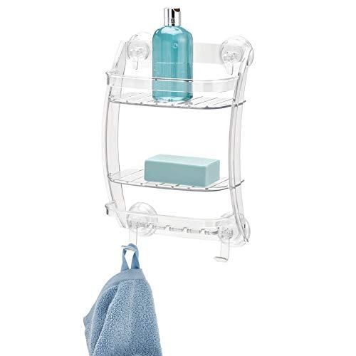 InterDesign - Power Lock - Organizador para cubículo de ducha, con ventosas; para champú, acondicionador, jabón - Claro