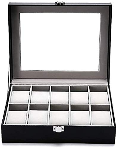 LIjiMY PU Lea There High-End-Uhrenbox 10-Bit-Uhr-Aufbewahrungs-Flip-Schiebedach-Schmuck-Box-Display-Box-Uhrenboxen