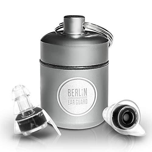 "BERLIN EAR GUARD® | OHRSTÖPSEL | KONZERT/Musik, Festival & SCHLAFEN | Gehörschutz gegen Lärm""NACHT ZUM TAG"" | Silikon Stöpsel mit Filter | 23dB (Transparent - Schwarz)"