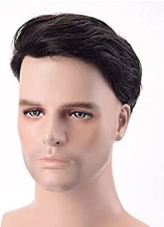 Fraser Hair Super Durable and 100% Human Hair System for Men. Size 7/5 Natural Black Straight Hair Fine Mono with PU Perimeter and Folded Lace Front Color 1B.