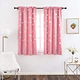 Anjee Star Curtains for Kids Room, Thermal Insulated Blackout Drapes Help Noise Reducing, 38 x 63 Inches, Baby Pink