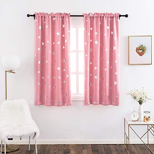 Anjee Kids Blackout Curtains for Girls Room with Foil Print Star Pattern Window Drapes for Bedroom, 38 x 45 Inches, Pink