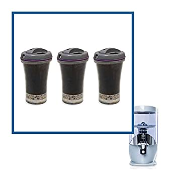 Nikken Waterfall 3 Filter Cartridges - 13845 Replacement for Gravity Water Filter Purifier System 1384 - PiMag Waterfall System Components - Rated Flow Service is at least 45 liters per day