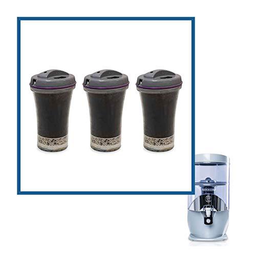 Nikken 13845 Wasserfall 3 Filterkartuschen - Ersatz für Schwerkraft-Wasserfilter-Reinigungssystem 1384 - PiMag Wasserfall-Systemkomponenten - Nenndurchfluss Service mindestens 45 Liter pro Tag